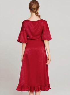 Sexy Red V-neck High Waist Asymmetric A Line Dress