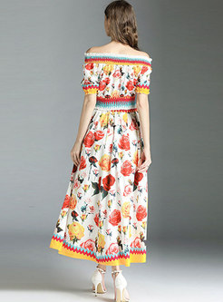 Flower Print Slash Neck Waist Two-piece Outfits