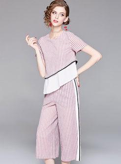 Pink Asymmetric Striped Top & High Waist Wide Leg Pants