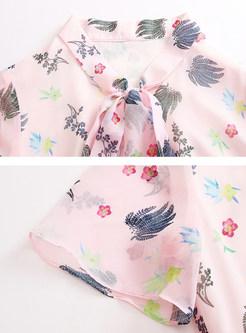 Pink Sweet Elastic Waist Pleated Dress