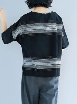 Black Loose Striped Plus Size T-shirt