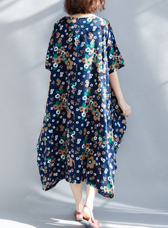 Ethnic Flower Print Half Sleeve Maxi Dress