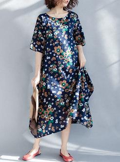 Ethnic Flower Print Half Sleeve Maxi Dress