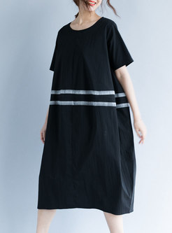 Black Striped Splicing T-shirt Dress