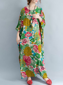 Ethnic Flower Print Loose Maxi Dress