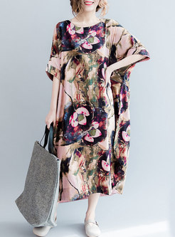 Chic Flower Print Oversized Maxi Dress