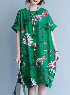 Green Ethnic Short Sleeve Shift Dress