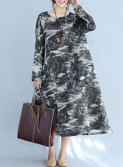 Black Ink Print Long Sleeve Maxi Dress