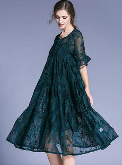 Dark Green Elegant Embroidery Plus Size Dress With Slip Dress