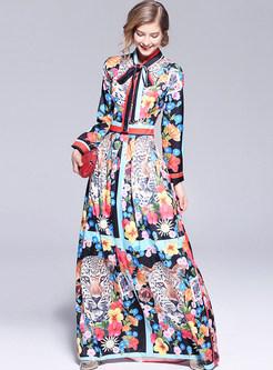 Chiffon Floral Print Bowknot Maxi Dress