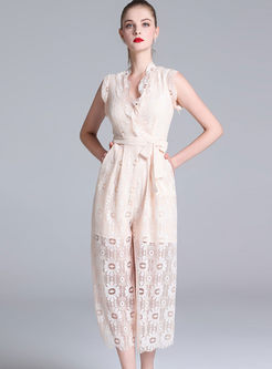 Fashion Apricot Lace Hollow Out Belted Elegant Jumpsuit