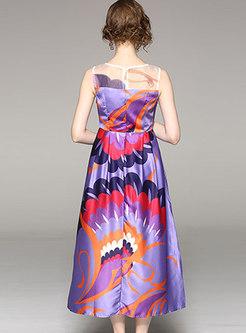 Stylish Sleeveless Waist Maxi Slip Dress