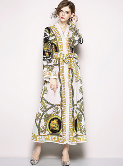 Vintage Print Belted Slit Maxi Dress