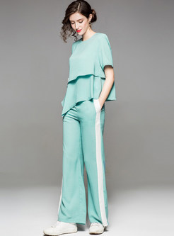 Green Casual Splicing Two-piece Outfits
