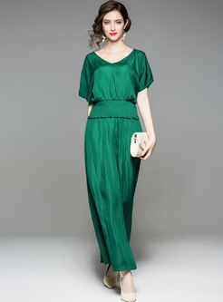 Green Gathered Waist V-neck Two-piece Outfits