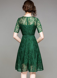 Green Hollow Out Waist A Line Dress