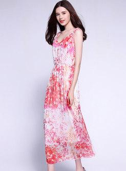 Pink Floral Print Sleeveless Silk Maxi Dress