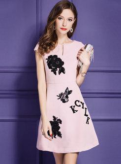 Pink Nail Bead Slim A Line Dress