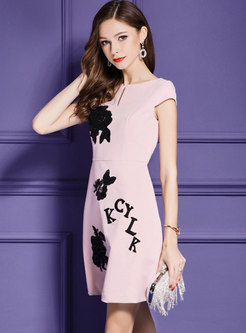 Pink Nail Bead Slim A Line Dress