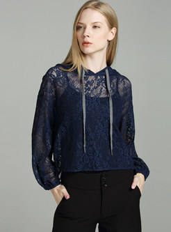 Blue Hollow Out Lace Hoodie