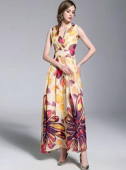 Floral Print Sleeveless Chiffon Maxi Dress