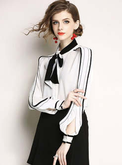 White Lantern Sleeve Bowknot Loose Blouse