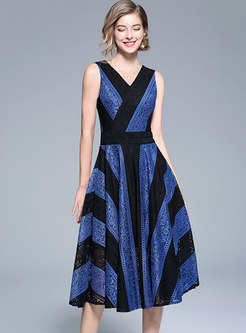 Brief Striped Contrast Color Lace Midi Dress