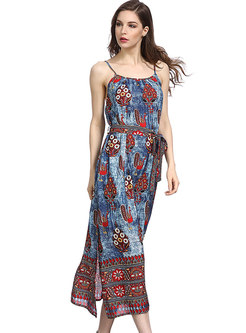 Ethnic Flower Print Slit Slip Dress