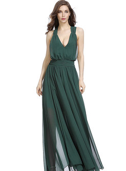 Sexy Deep V-neck Chiffon Prom Dress