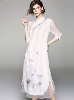 White Retro Slopping Stand Collar Double-layered Maxi Dress