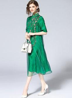 Green Elegant Embroidery Half Sleeve Straight Dress