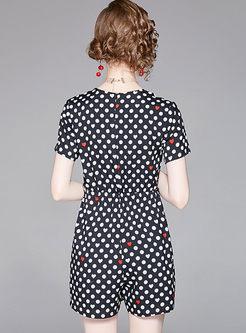 Black Dot Print V-neck High Waist Rompers