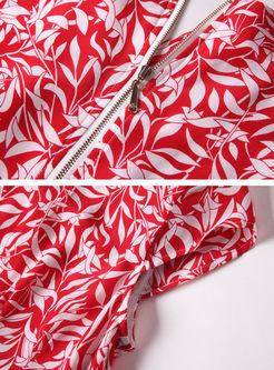 Red Fashion Leaf Print A Line Dress