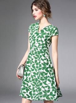 Green Fashion Leaf Print A Line Dress