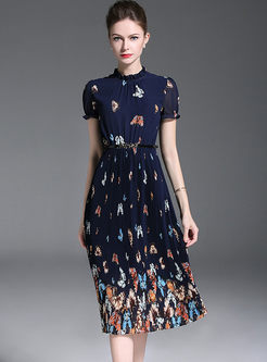 Street Print Stand Collar Puff Sleeve Dress