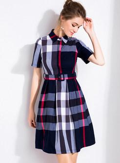 Fashion Grid Print Waist A-Line Dress