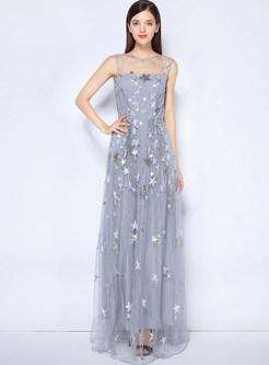 Grey Star Pattern Perspective Prom Dress | Ezpopsy.com