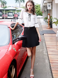 White Brief Flare Sleeve Blouse