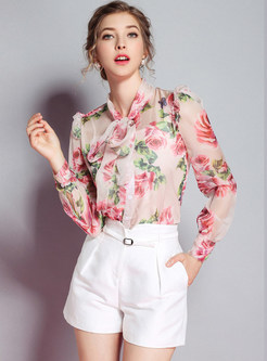 Rose Print Tie-Collar Blouse With Tanks