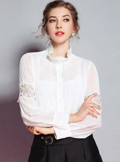 White Hollow Out Blouse With Tanks