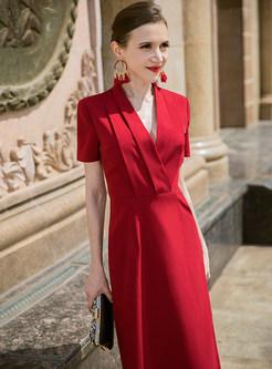 Red V-neck Gathered Waist Prom Dress