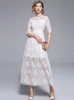 White Elegant Stereoscopic Embroidery Maxi Dress