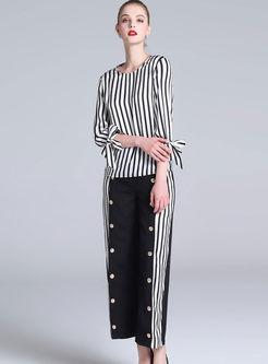 Street Bowknot Three-quarter Sleeve Top & Metal Decoration Wide Leg Pants