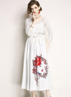 White Lace Splicing Hollow Out Maxi Dress