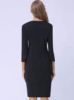 Black Elegant Three-quarter Sleeve Bodycon Dress