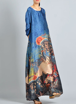 Blue Silk Print Asymmetric Maxi Dress