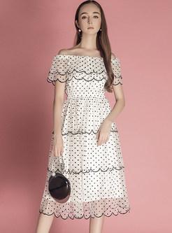 White Fashion Slash Neck Mesh Splicing Skater Dress
