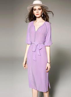 Purple Waist Belted Skater Dress