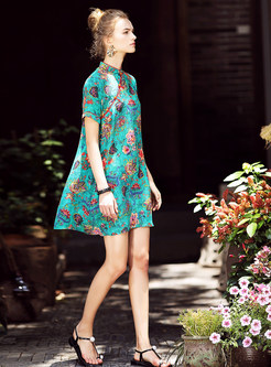 Green Retro Embroidery Silk Shift Dress