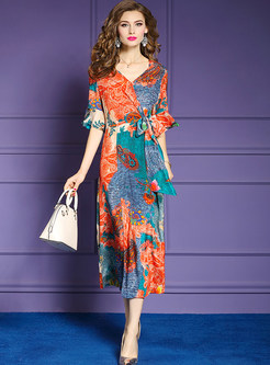 Vintage Print Flare Sleeve Slit Silk Dress